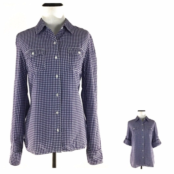 9069ba2c Tommy Hilfiger Tops | Blue Plaid Roll Tab Sleeve Shirt M | Poshmark